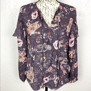 Skies are Blue Floral Print Wrap Front Blouse XS